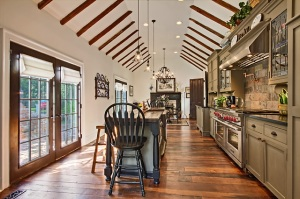 Mulberry  Hill The Ellis House Kitchen showing raised ceiling with exposed Hand Hewn Beams